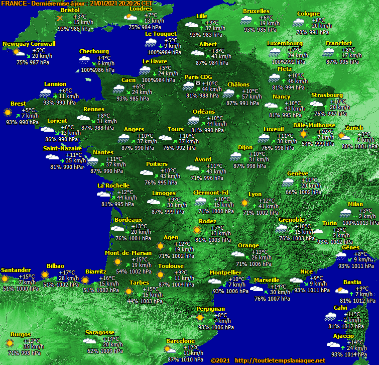 carte France météo metar
